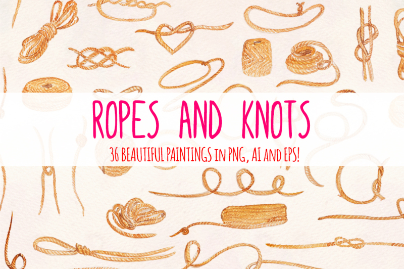 36-ropes-and-knots-watercolor-vector-graphic-elements