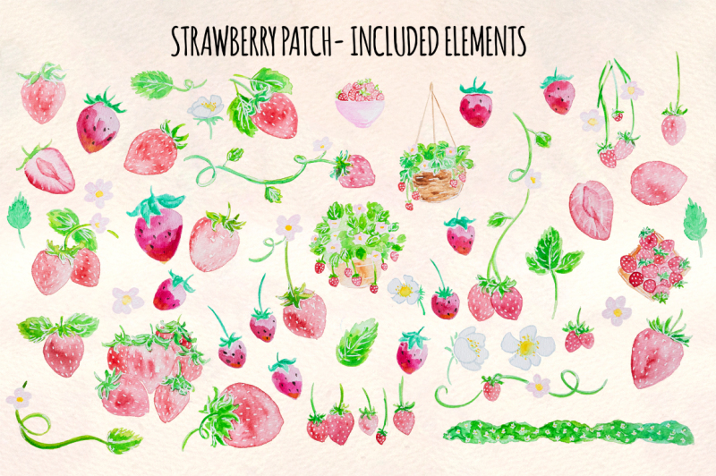 strawberry-patch-52-cute-watercolor-paintings-clip-art