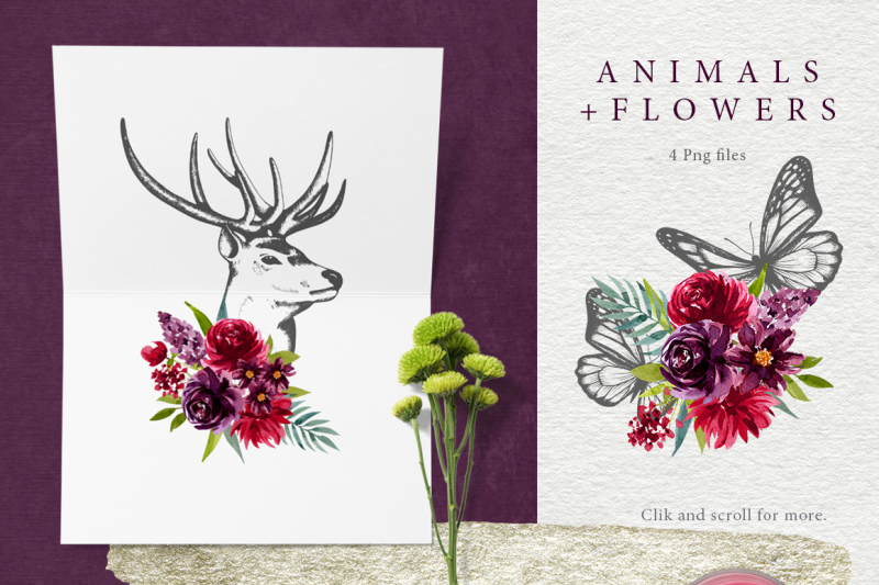 animals-and-watercolor-flowers