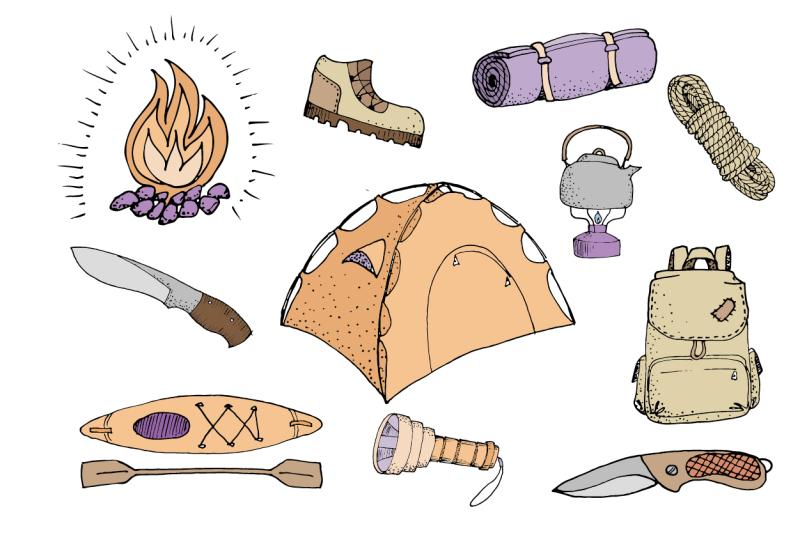 hand-drawn-camping-tools