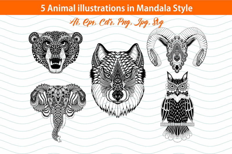 5-animal-illustrations-in-mandala-style