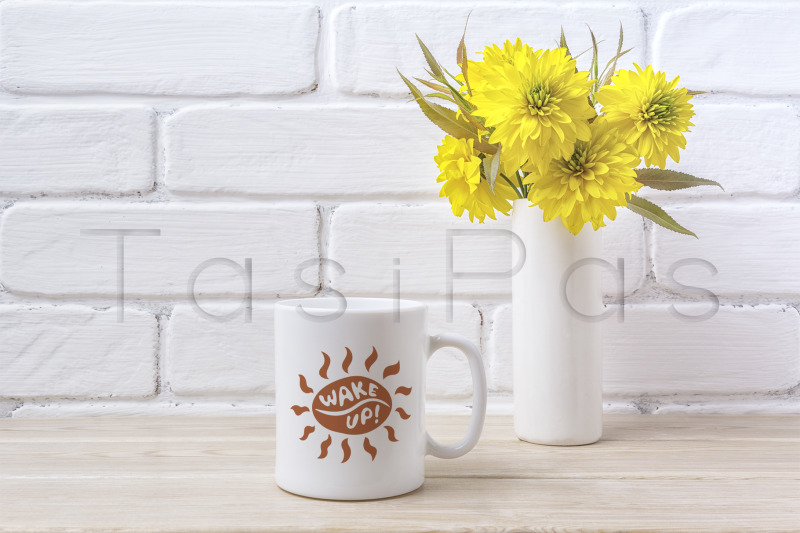Free White coffee mug mockup with Golden Ball flower (PSD Mockups)
