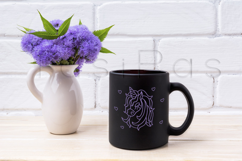 Download Black coffee mug mockup with blue Ageratum in pitcher Free Mockups