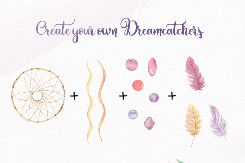 dreamcatcher-watercolor-103-piece-package-patterns-wreaths-feathers