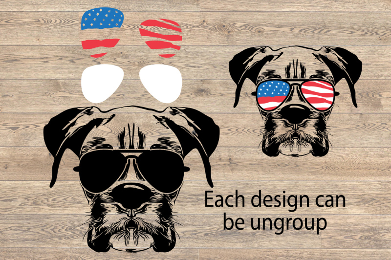 971ab6234d10 Boxer Dog USA Flag Glasses Paw Silhouette SVG merica patriotic 868S ...