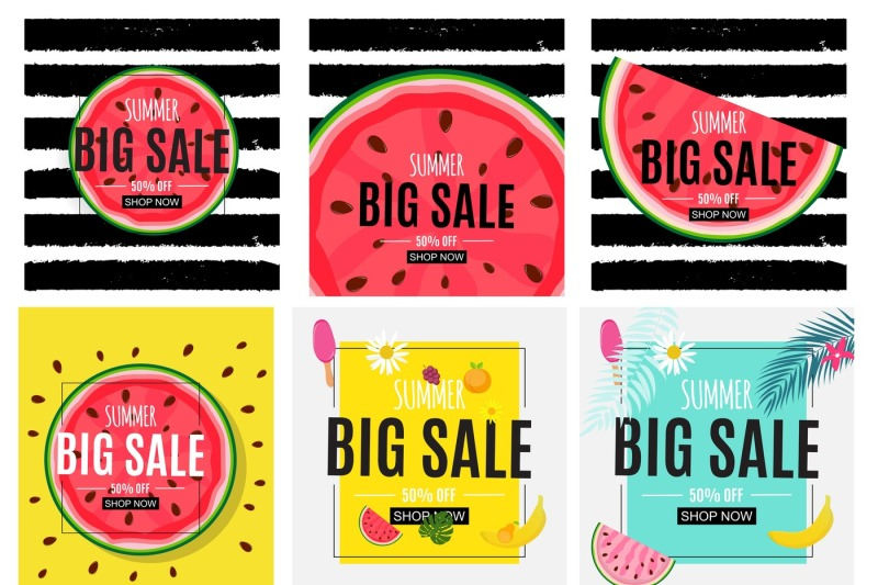 abstract-summer-sale-background-with-watermelon-and-palm-leaves