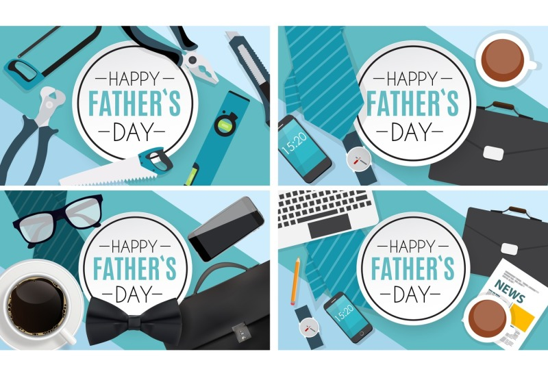 happy-fathers-day-background-best-dad-concept-vector-illustration