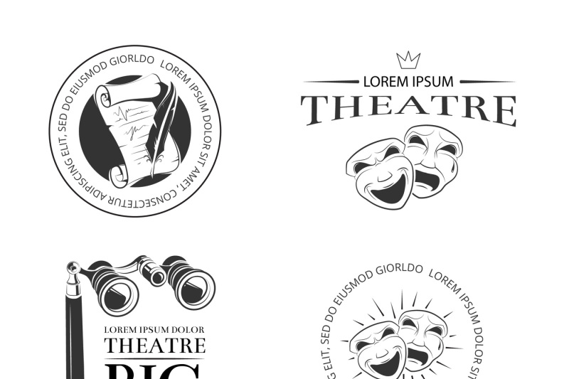theater-acting-entertainment-performance-vector-retro-labels-emblems