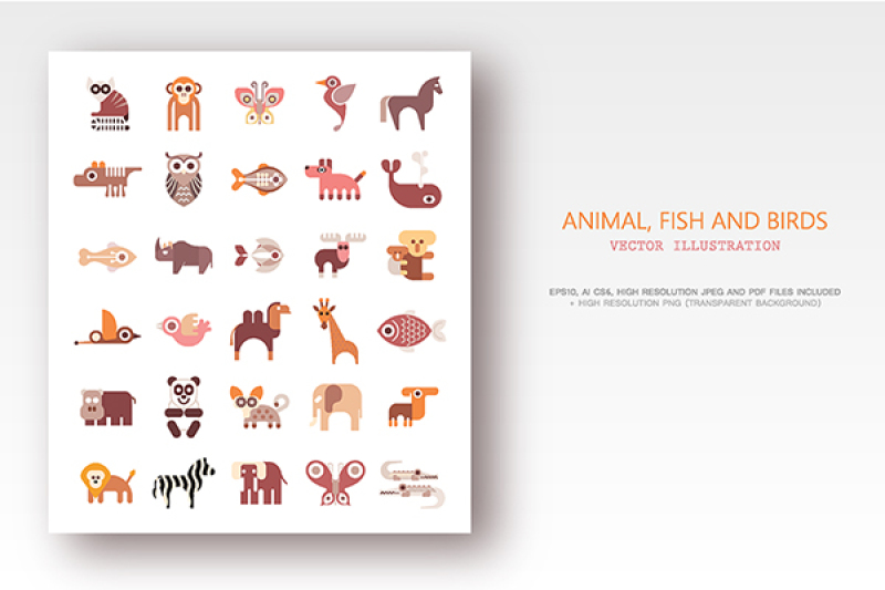 animals-fish-and-birds-set-of-flat-vector-icons