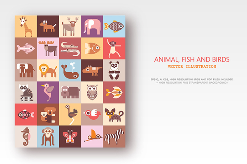 animals-fish-and-birds-bundle-of-vector-icons