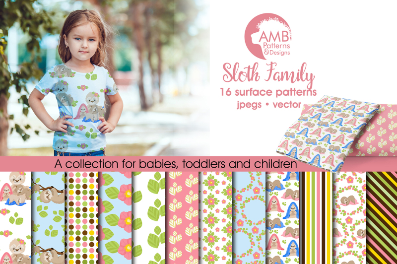 sloth-family-patterns-family-sloth-papers-amb-2207