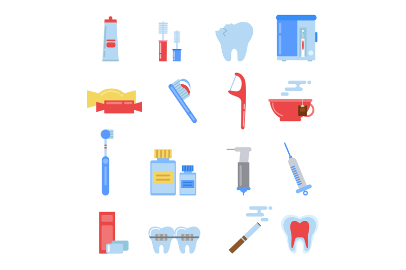 healthcare-illustrations-in-flat-style-dental-different-icons-set