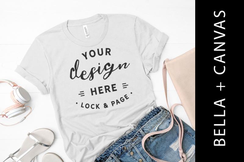 Free Silver Bella Canvas 3001 T-Shirt Mockup Flat Lay For Women (PSD Mockups)
