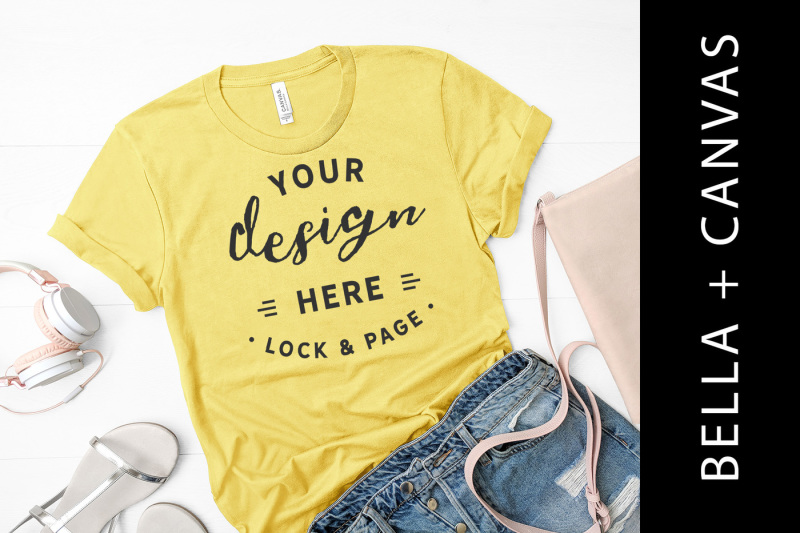maize-yellow-mockup-bella-canvas-3001-t-shirt-flat-lay