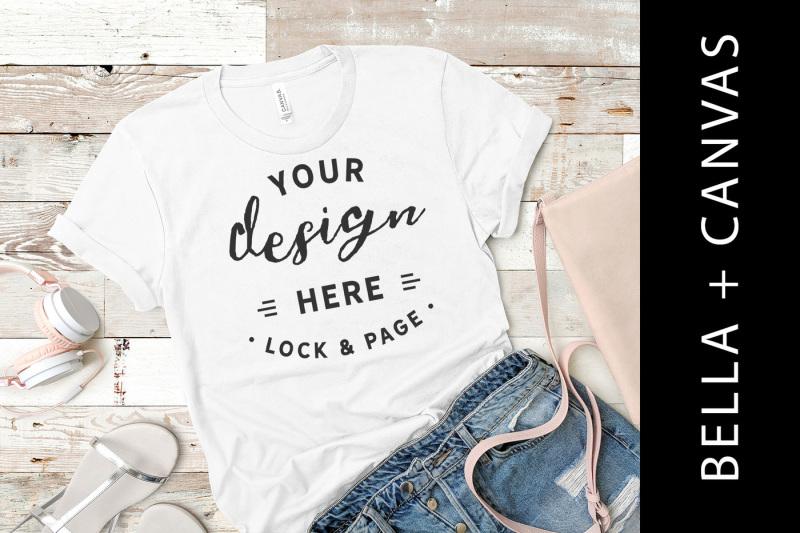 Free White Bella Canvas 3001 T Shirt Mockup Flat Lay Beach House Style (PSD Mockups)