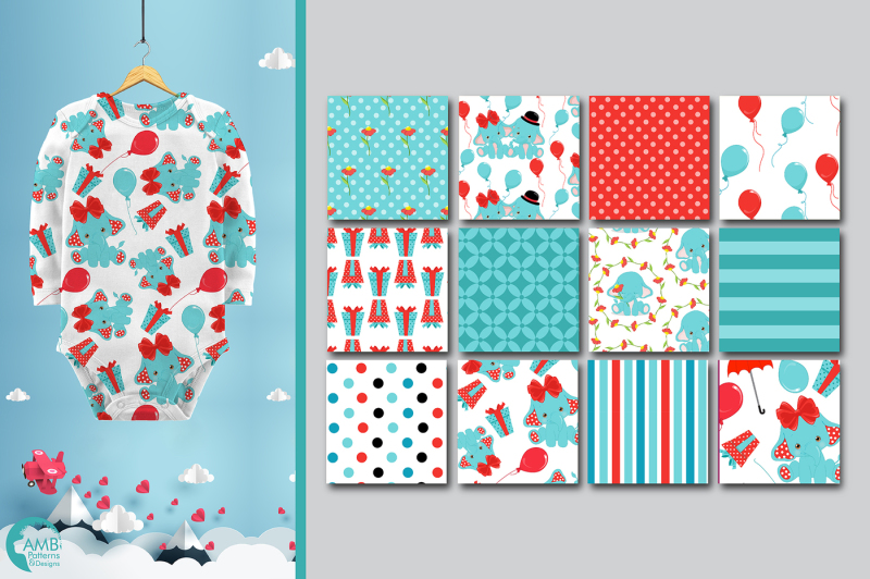 baby-elephant-patterns-teal-elephant-papers-amb-2279