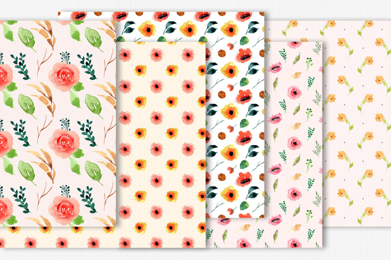 floral-watercolor-digital-papers-vol-1