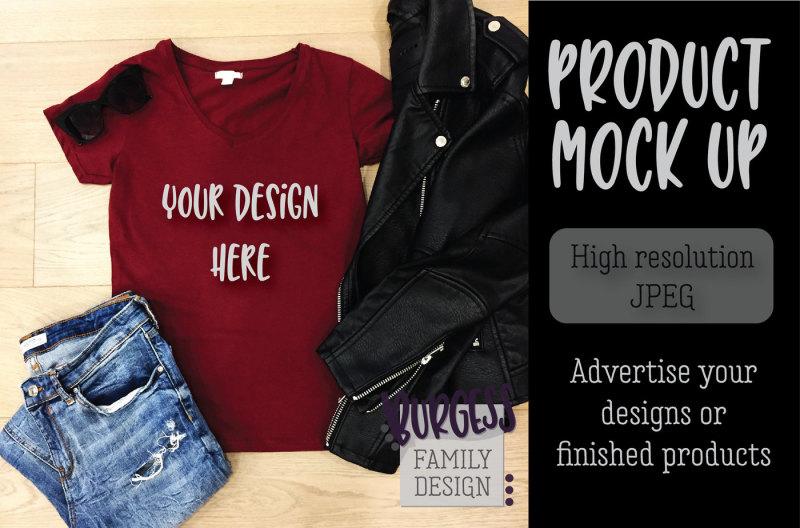 Free MOCK UP | Leather moto red shirt (PSD Mockups)