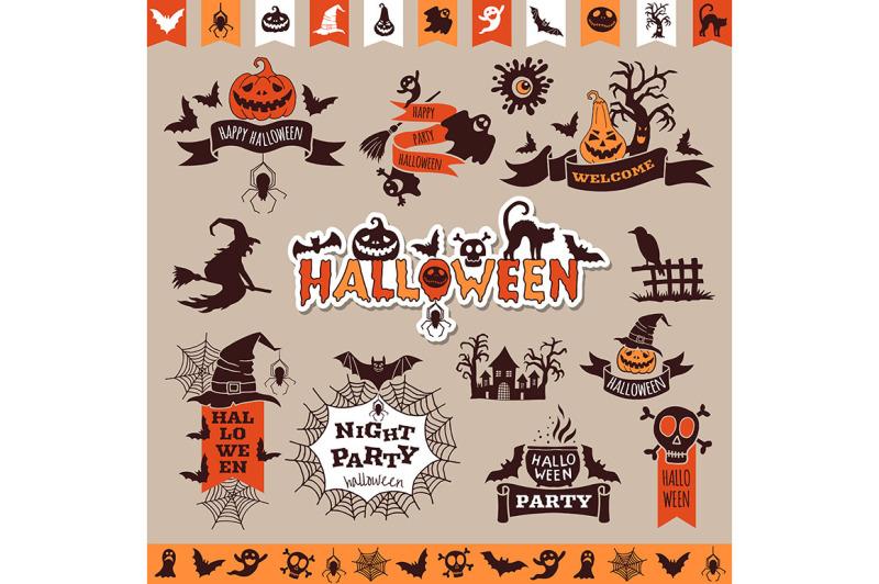halloween-monochrome-emblems-for-decoration