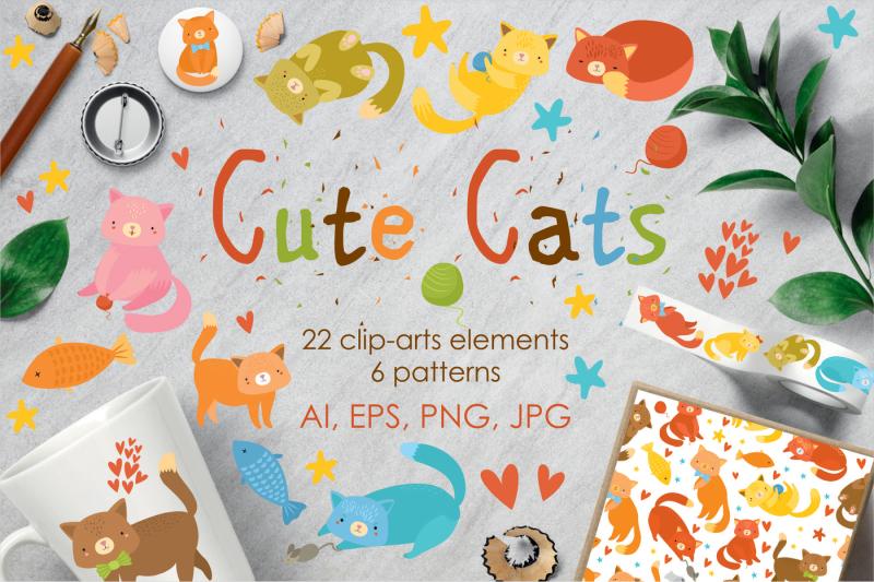 cute-cats-set-clip-art-patterns