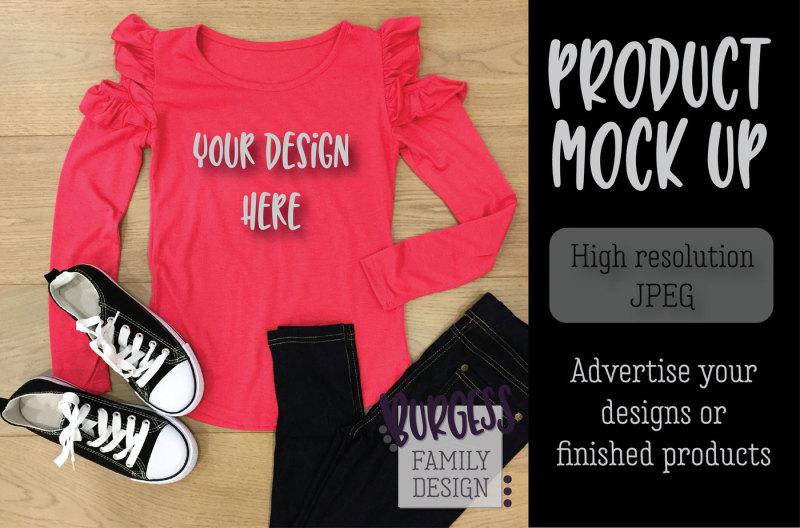 Free MOCK UP   Pink ruffle top (PSD Mockups)