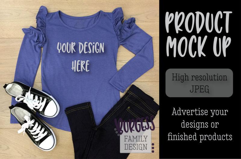 Free MOCK UP | Purple ruffle top (PSD Mockups)