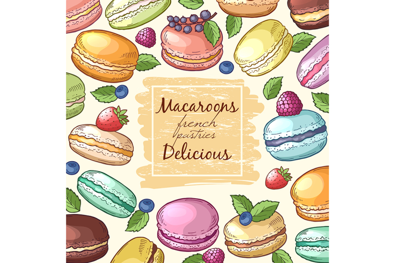 poster-with-colored-illustrations-of-macaroons
