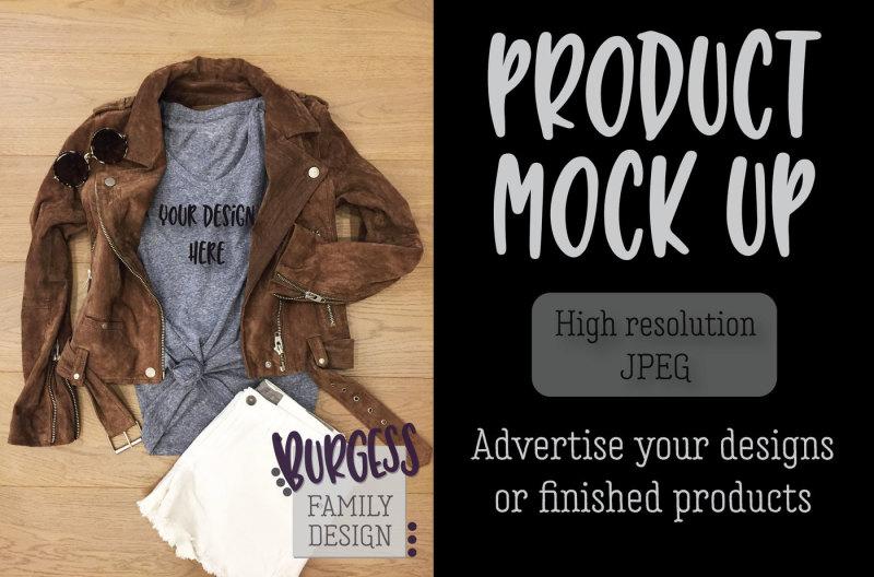 Free MOCK UP | Brown leather jacket & t-shirt (PSD Mockups)