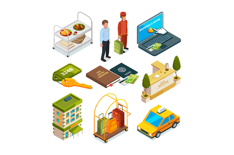hotel-reception-isometric-set-of-motel-services-illustrations