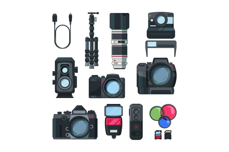 dslr-photo-cameras-vector-set-in-cartoon-style