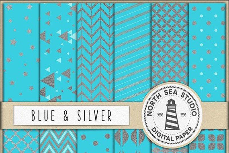 silver-and-aqua-blue-digital-paper