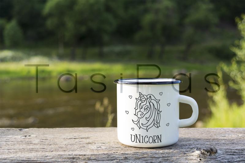 Free White campfire enamel mug mockup river view. (PSD Mockups)