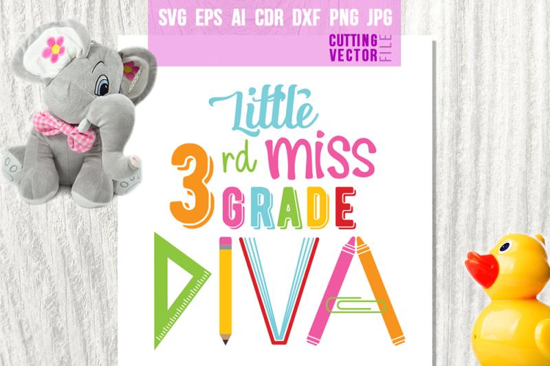 little-miss-3rd-grade-diva-svg-eps-ai-dxf-png-jpg