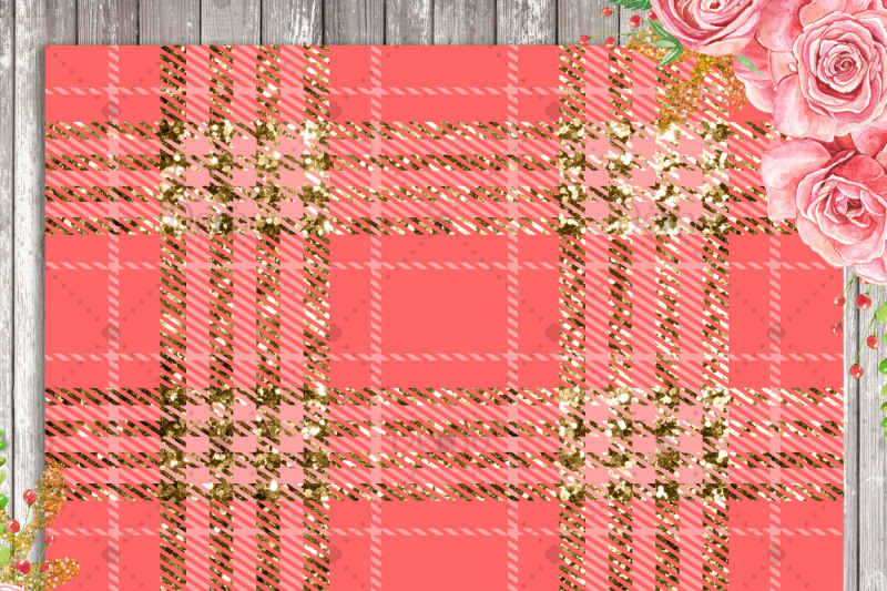 16-luxury-gold-and-peach-glitter-plaid-tartan-digital-papers