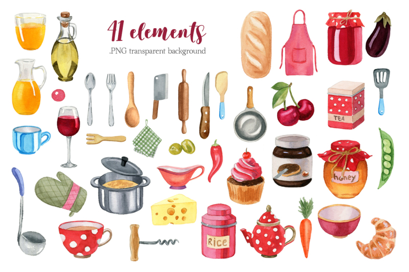 kitchen-accessories-watercolor-clipart-set