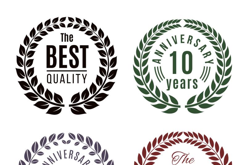 anniversary-and-premium-quality-laurel-wreath-vector-set