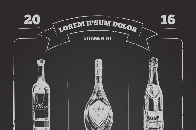 drinks menu on chalkboard in hand drawn style vector
