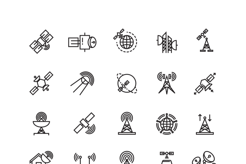 satellite-and-orbit-communication-aerial-line-thin-icons