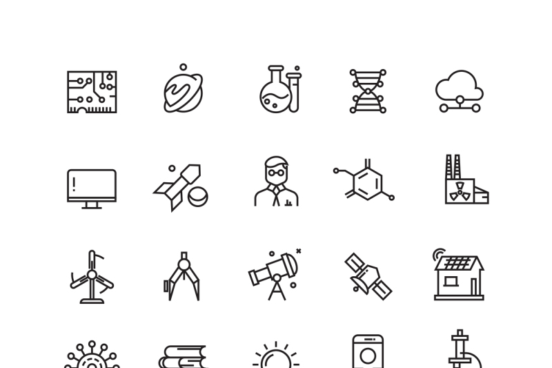 technologies-and-science-vector-line-icons