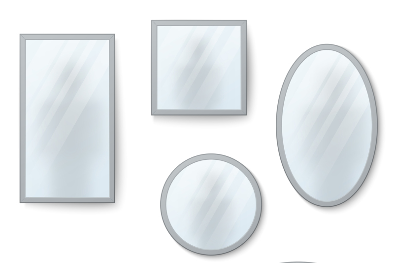vector-realistic-mirrors-set-with-blurry-reflection
