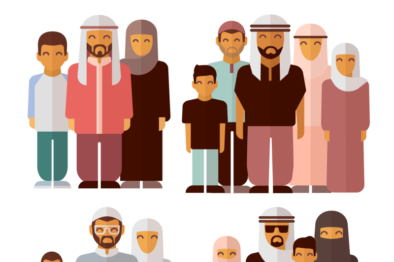 arabic-family-in-traditional-muslim-clothes