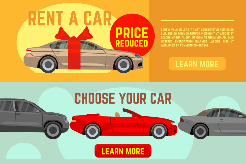 buying-and-selling-car-vector-banners-set
