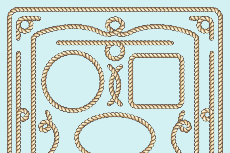 rope-frame-knots-and-corners-vector-decorative-elements