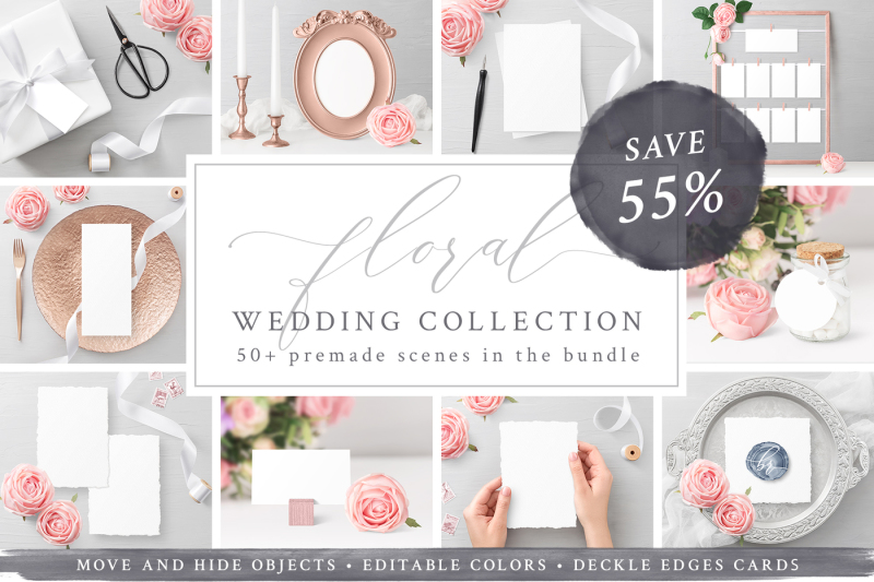 Free Wedding Mockups Bundle SAVE 55% (PSD Mockups)