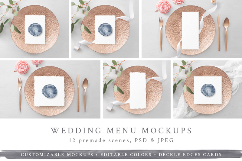Free Wedding Menu/Program Mockups (PSD Mockups)