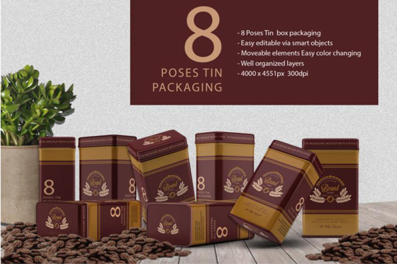 Free 8 Pose Tin Packaging Mockup (PSD Mockups)