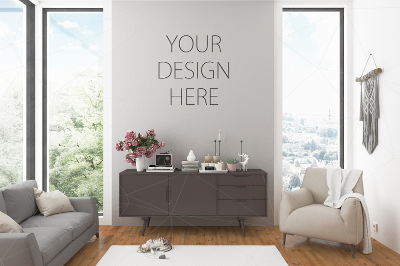 Free Interior mockup artwork background (PSD Mockups)