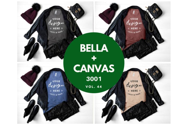 Free Autumn TShirt Mockup Bundle Bella Canvas 3001 Feminine Flat Lay (PSD Mockups)