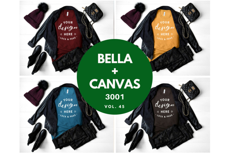 Free Bella Canvas 3001 Autumn Winter Fall TShirt Mockup Bundle (PSD Mockups)