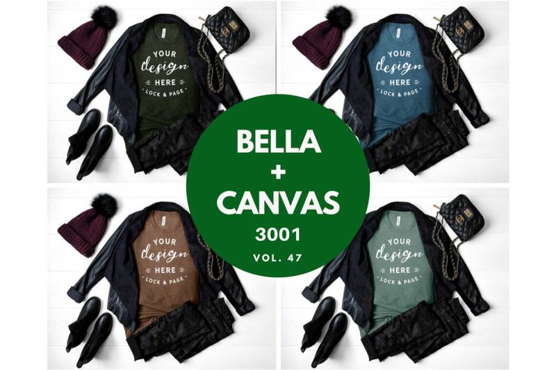 Free Autumn Winter Bella Canvas 3001 TShirt Mockup Bundle T Shirt Flat Lay (PSD Mockups)